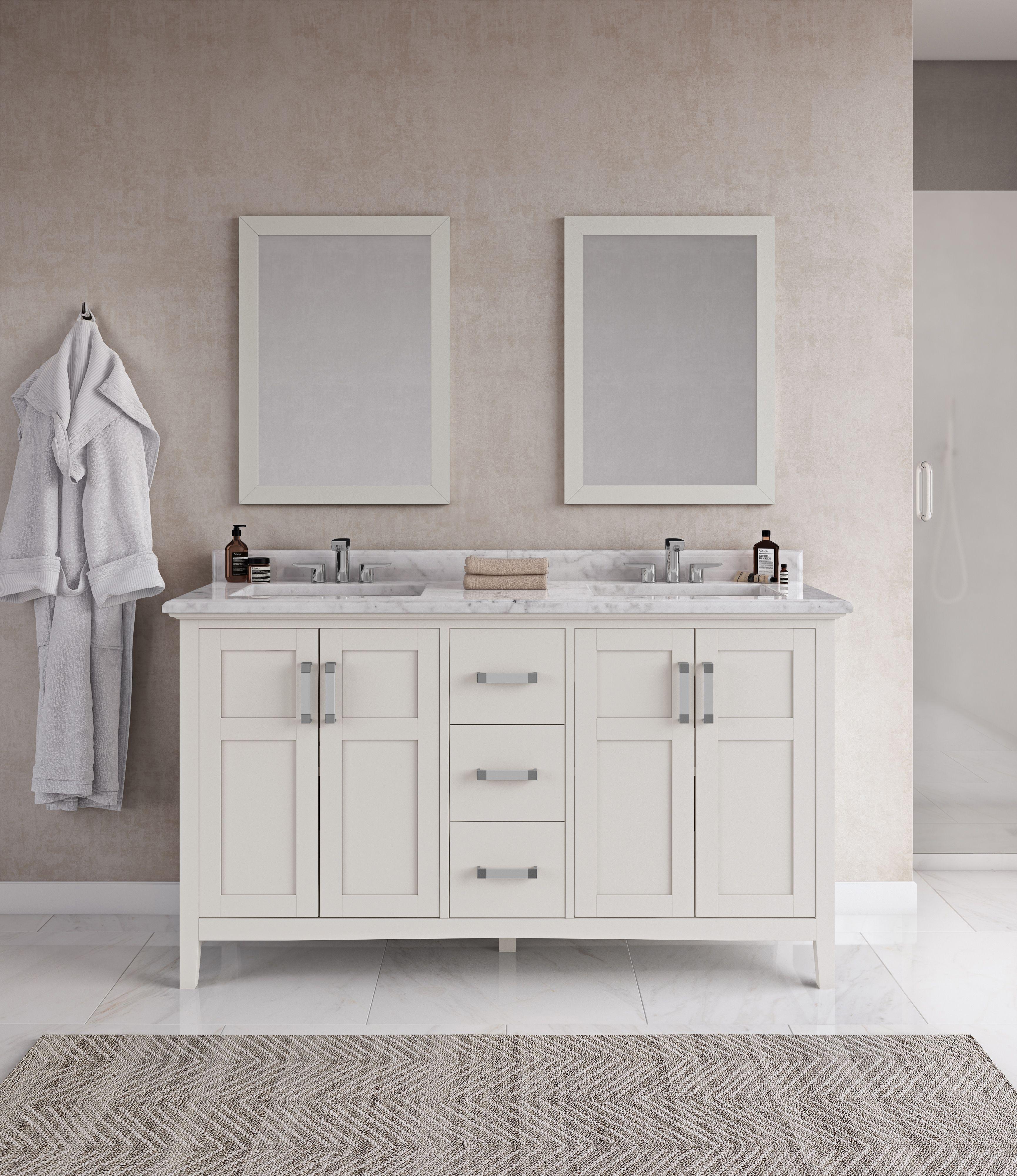 Winston 60 Inch Bath Vanity With Bombay White Engineered Quartz