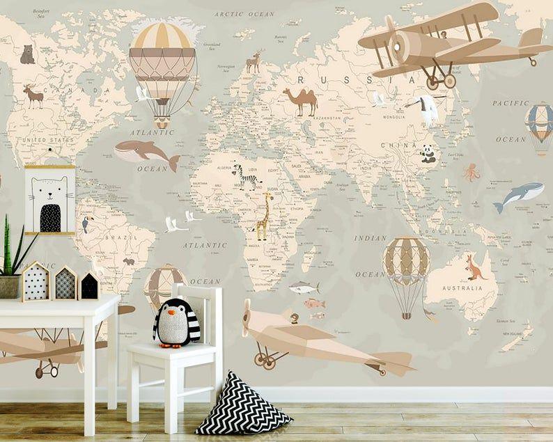 Wallpaperadhesive Vinylnurserynon Toxicworld Map With Etsy In 2020 Wallpaper Vinyl Wallpaper Kids Room Wallpaper