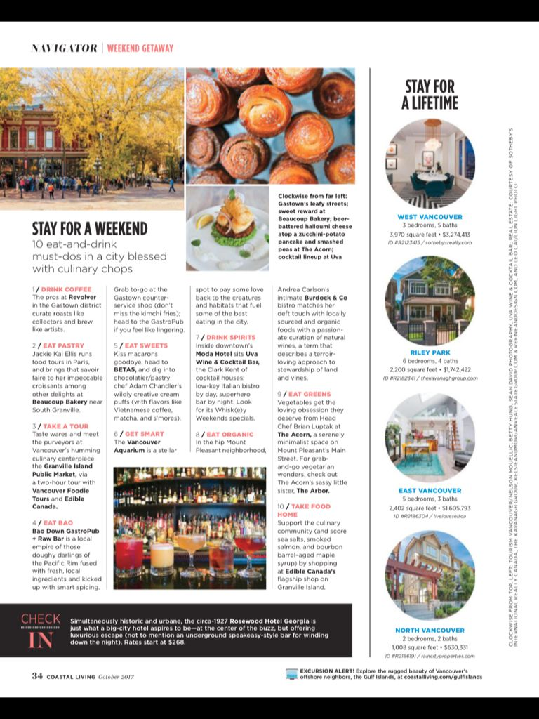 Vancouver British Columbia From Coastal Living October 2017 Read It On The Texture App Unlimited Access To 200 10 Things Weekend Getaways West Vancouver