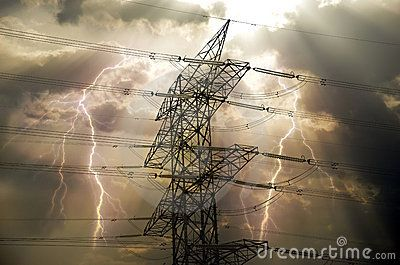 Electrical transmission tower  with storm lightnings. Abstract presentation of the electrical power.