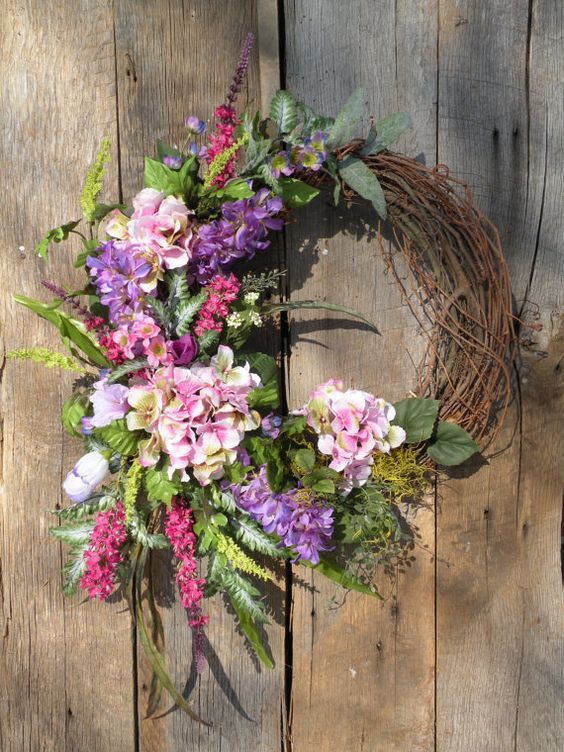 top 15 spring flower wreath designs easy cheap. Black Bedroom Furniture Sets. Home Design Ideas