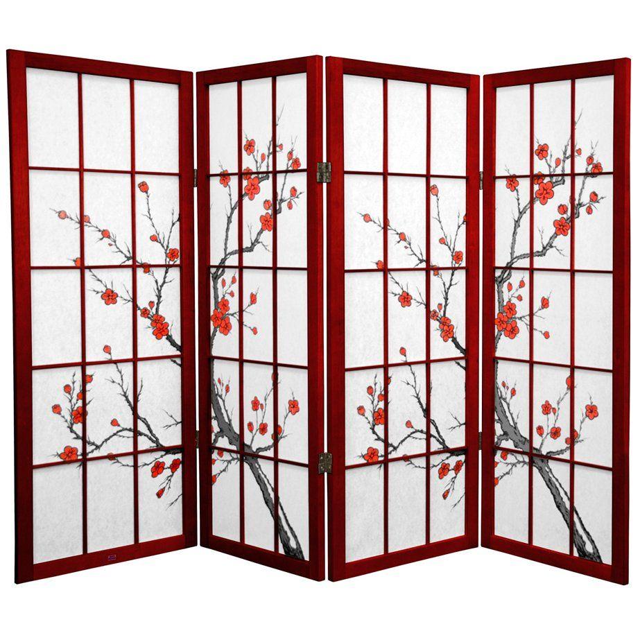 Oriental Furniture 4 Ft Tall Cherry Blossom Shoji Screen 4 Panel