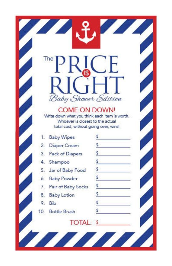 Instant Download Anchor Baby Shower The Price Is Right Game Cards, Printable Party Sheets, Boy Red White Blue Striped Sailor Nautical 26A