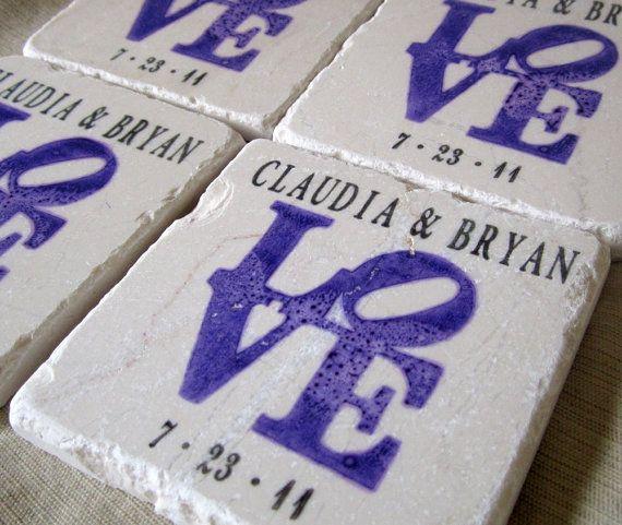 personalized purple love statue wedding favor coasters set of 25