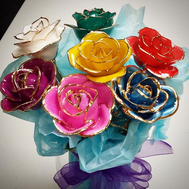 Steven S Famous 24k Gold Dipped Roses Gold Dipped Rose Gold Dipped Crystal Rose