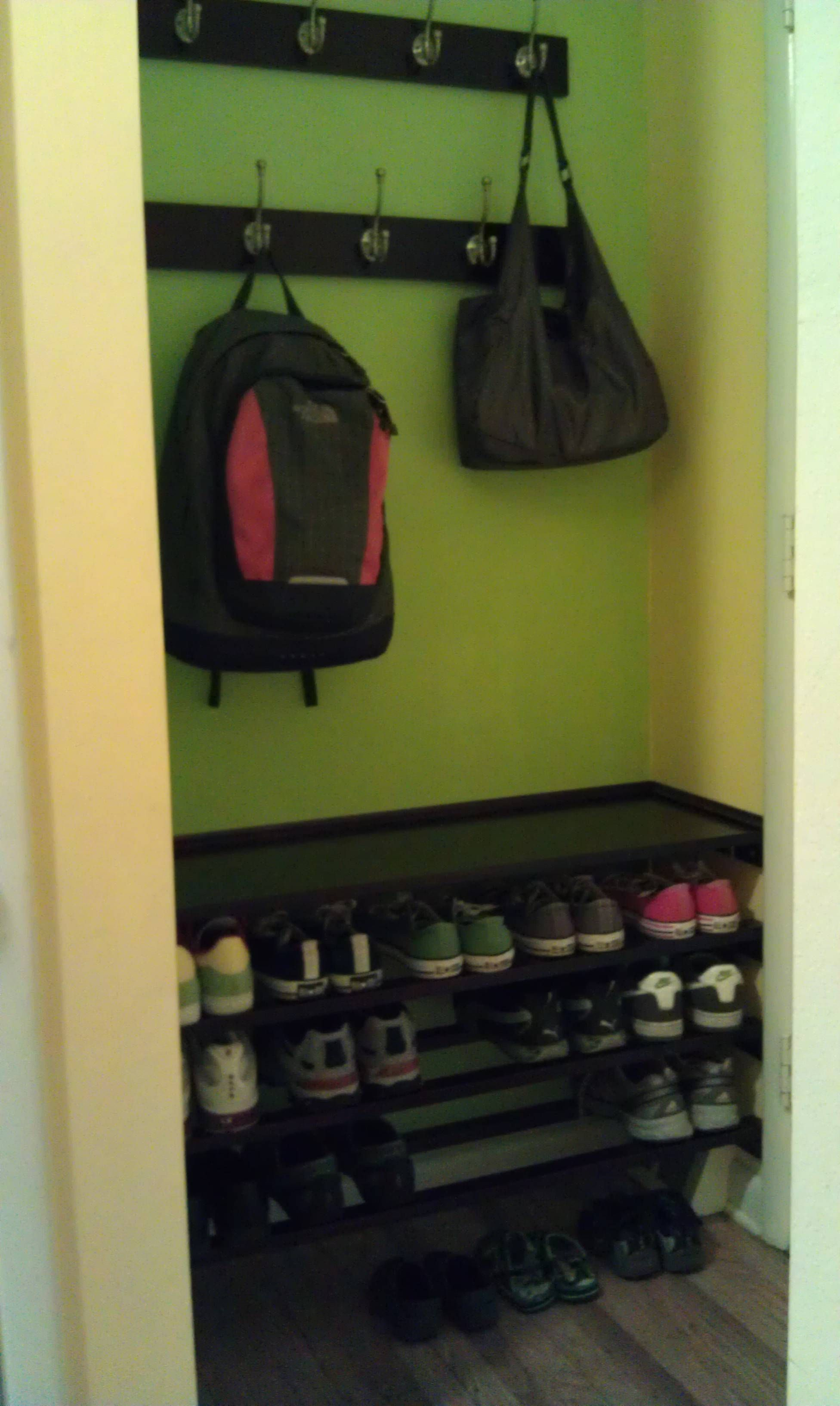 I Made This Built In Bench, Shoe Rack And Coat Racjs Behind The Front Door.  Inexpensive And Very Functional.