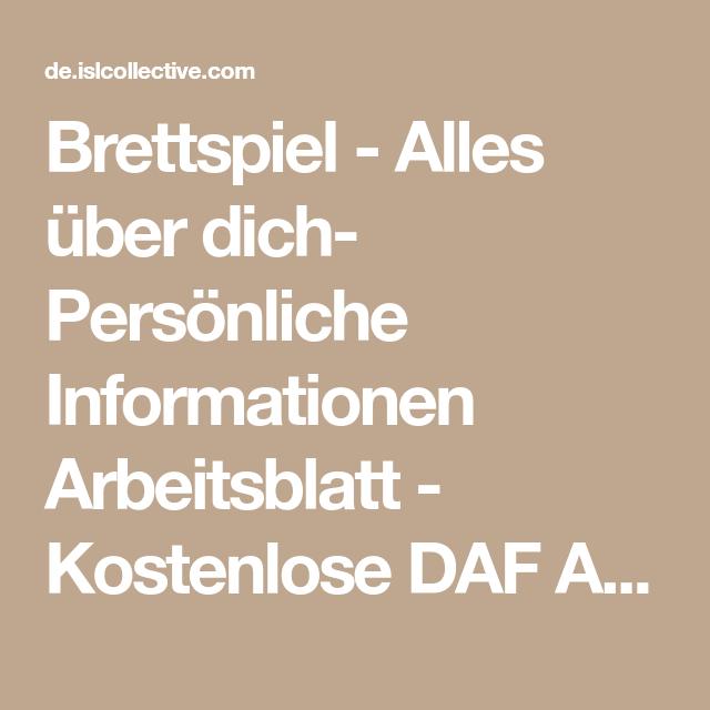 Brettspiel - Alles über dich- Persönliche Informationen Arbeitsblatt ...