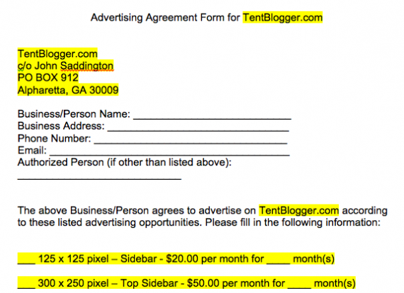 crafting a simple blog advertising contract or agreement