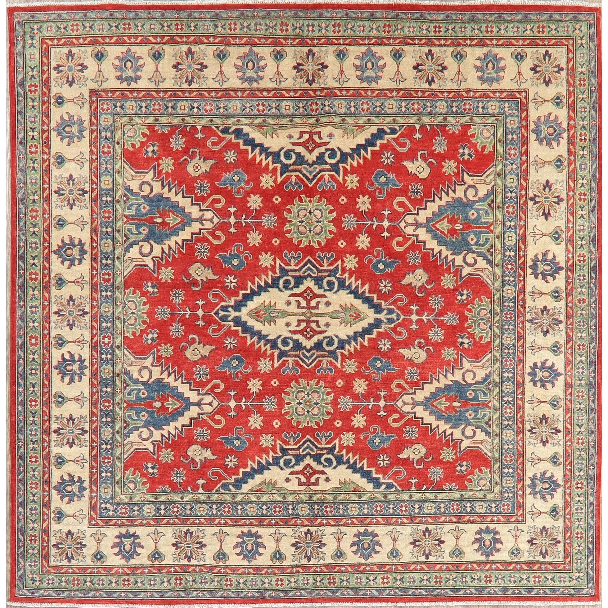 Kazak Chechen Oriental Hand Knotted Wool Pakistani Rug 8 0 X 7 11 Square 8 0 X 7 11 Square Red Square Area Rugs Area Rugs Red Area Rug