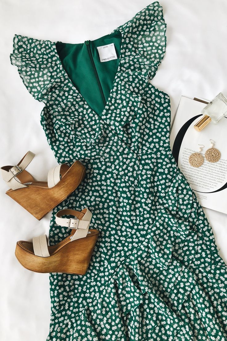 Be About You Green Floral Print Asymmetrical Midi Dress #summerdresses