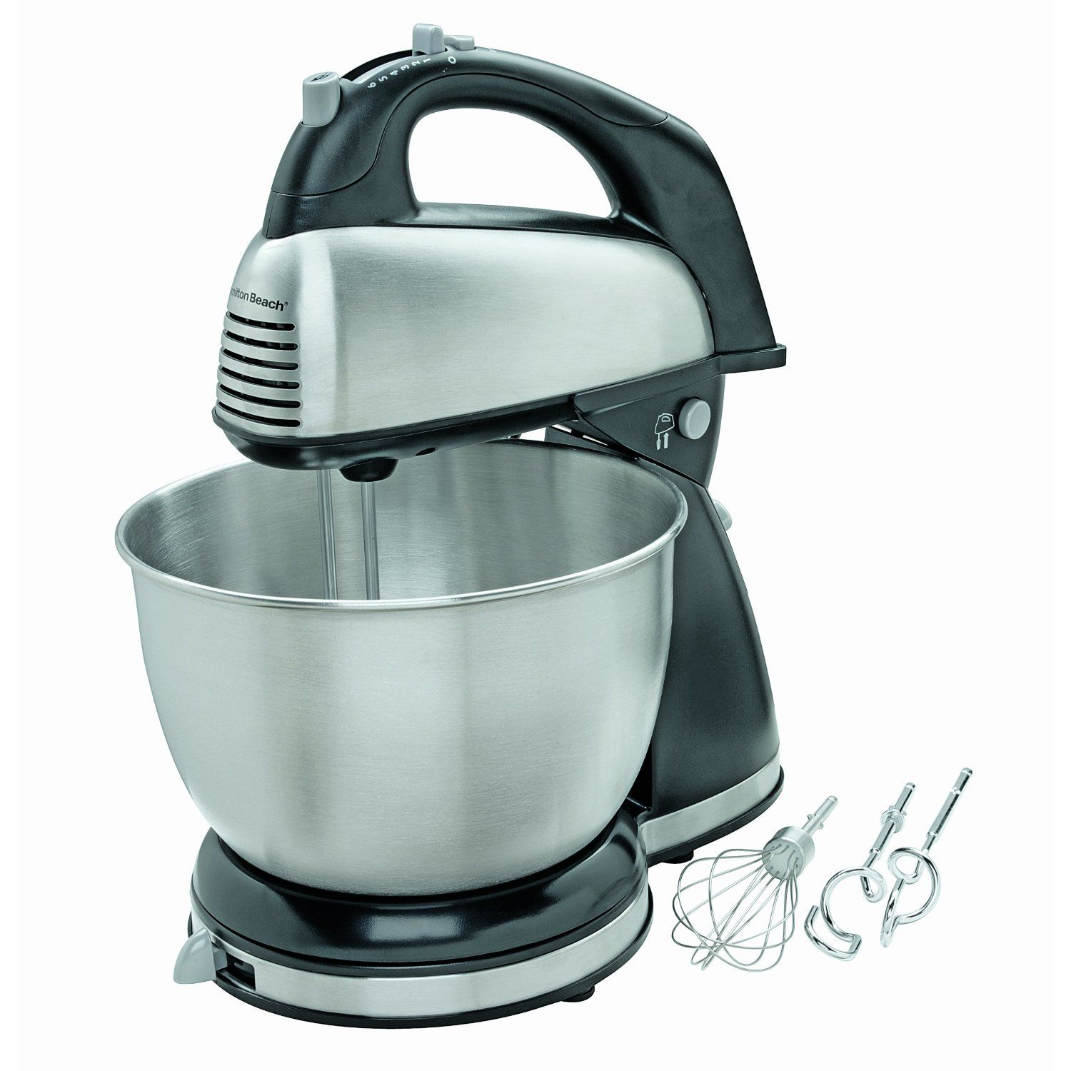 Hamilton Beach 64650 6-Speed Classic Stand Mixer, Stainless Steel ...