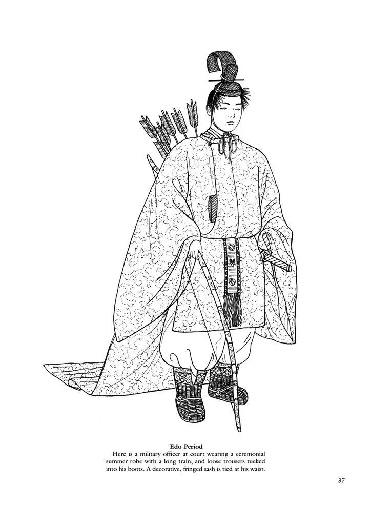 Japanese clothing colouring pages. | Traditional costume | Pinterest