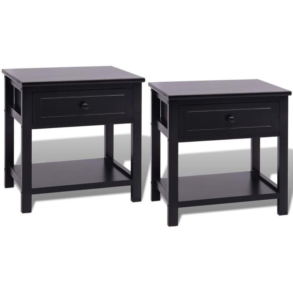 Best Bedside Tables Set 2 Pcs Black Nightstands Bedroom Sofa 400 x 300