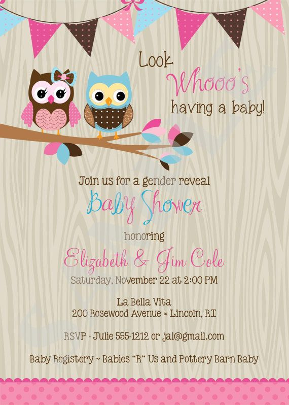 owl baby shower invitation couples coed twins boy girl gender, Baby shower invitation