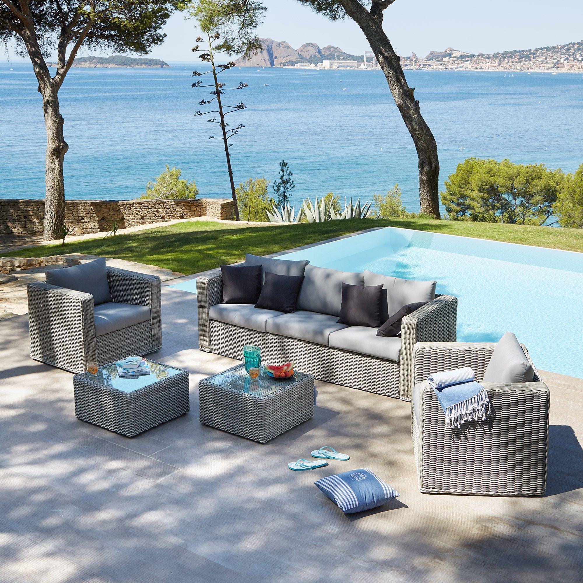 Santorini | Salon de jardin gris effet rotin tressé - Alinéa ...