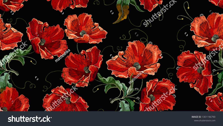 Art Nouveau Inspired California Poppy By Mason Larose: Beautiful Red Poppies Flowers, Embroidery Seamless Pattern