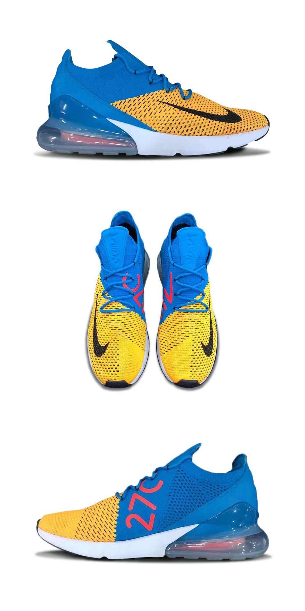size 40 c190a 392b7 Nike Air Max 270 Flyknit Blue/Yellow | Kicks in 2019 | Air ...