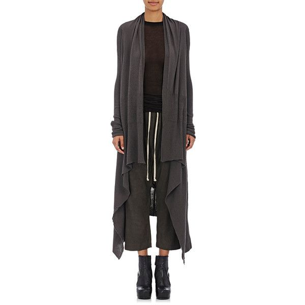 Rick Owens Women's Long Cascade Cashmere Cardigan ($660) ❤ liked ...