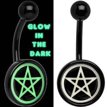 Black Titanium Magic Pentagram Glow in the Dark Belly Ring | Body Candy Body Jewelry #bodycandy