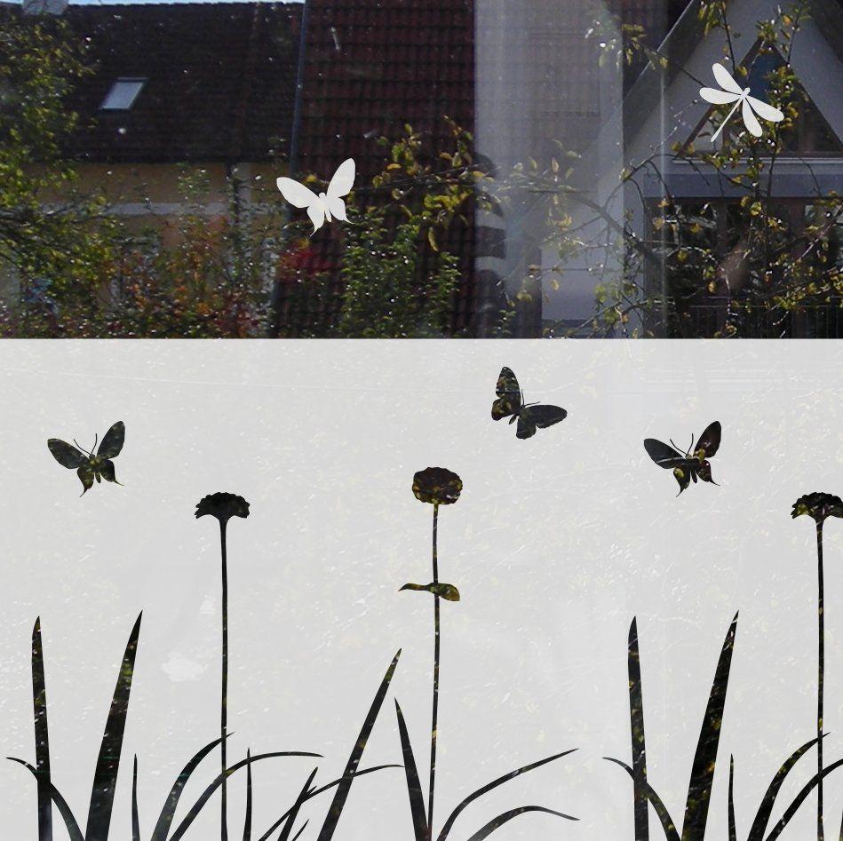 Sichtschutz Fur Fenster Mit Blumen Und Schmetterlingen Folie Fur