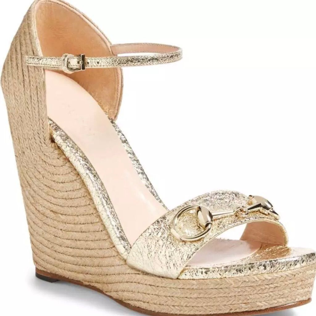 86cdc1a7a Gucci Shoes | Gucci Carolina Metallic Platino Wedge Leather | Color: Gold |  Size: 9.5