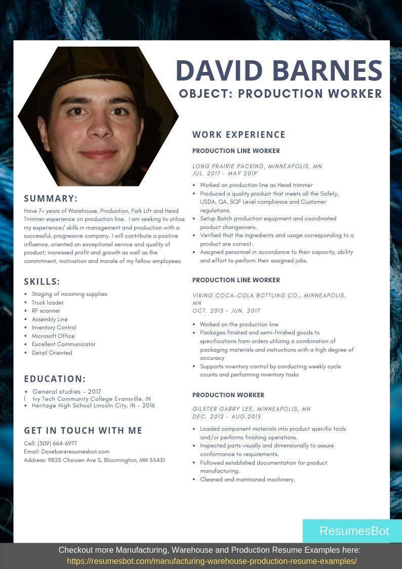 Production Worker Resume Samples Templates Pdf Doc 2021 Production Worker Resumes Bot Resume Template Examples Resume Examples Professional Resume Examples