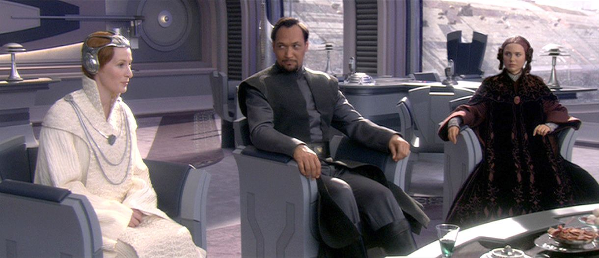 Star Wars Episode Iii Deleted Scene Senator S Bail Organa Padme Amidala And Mon Mothma Sew The Seeds Of Re Star Wars Ii Star Wars Episode Ii Star Wars Movie
