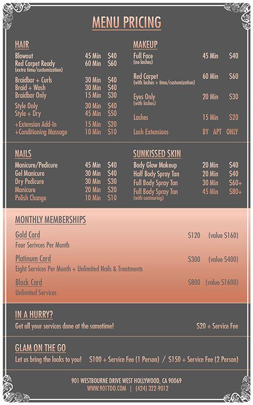 Braid Bar Too Menu   Ssspa    Menu Bar And Salons