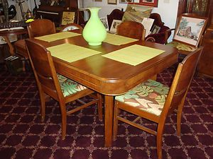 Vintage Maple Dining Room Set 6 Chairs Two Leaves Table Buffet China Hutch