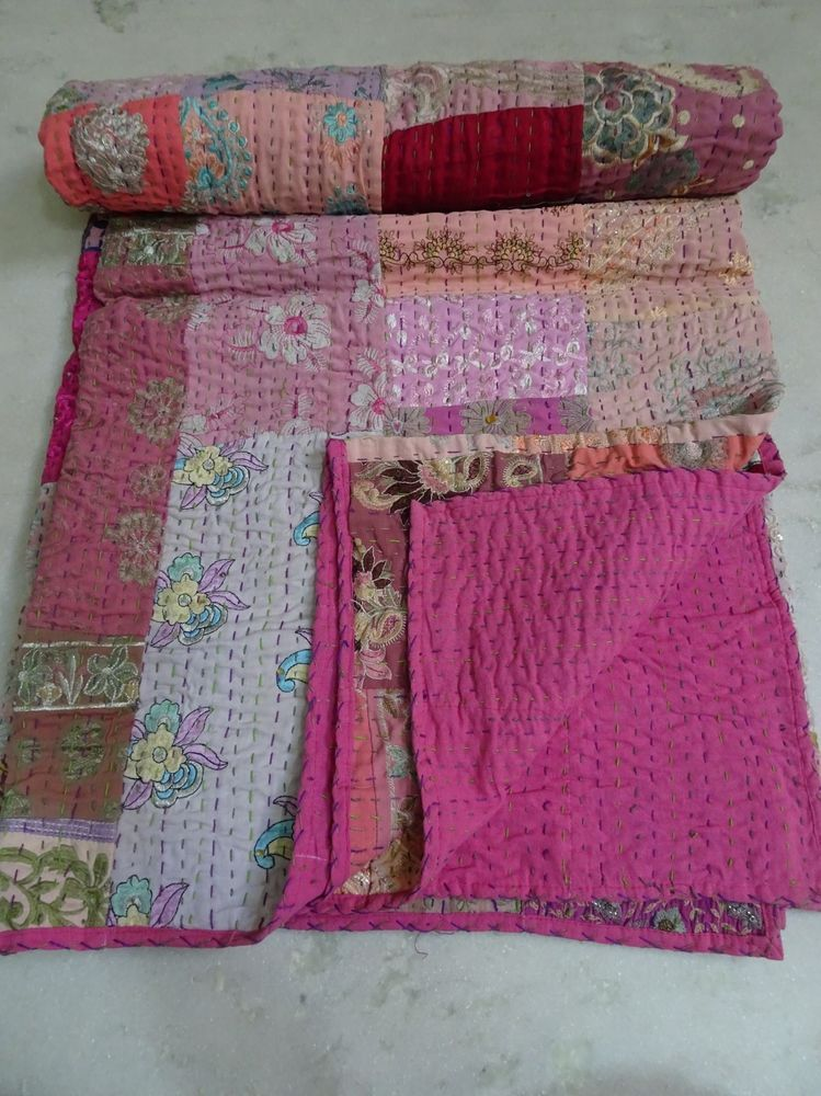 Handmade Vintage Patchwork Silk Kantha Embroidery Blanket Quilt Throw Bedspread