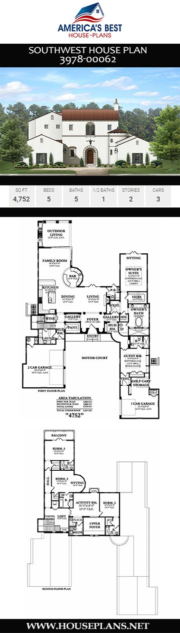 House Plan 3978 00062 Southwest Plan 4 752 Square Feet 5 Bedrooms 5 5 Bathrooms In 2020 House Plans Southwest House Castle Plans