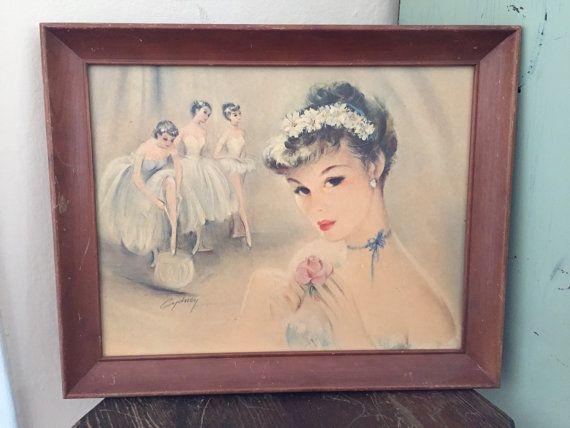 Cydney Grossman Ballerina Print 1950s Cydney by Speckadoos on Etsy #GotVintage #Vintage #Decor