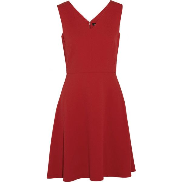 DKNY Crepe dress (£135) ❤ liked on Polyvore featuring dresses, crimson,