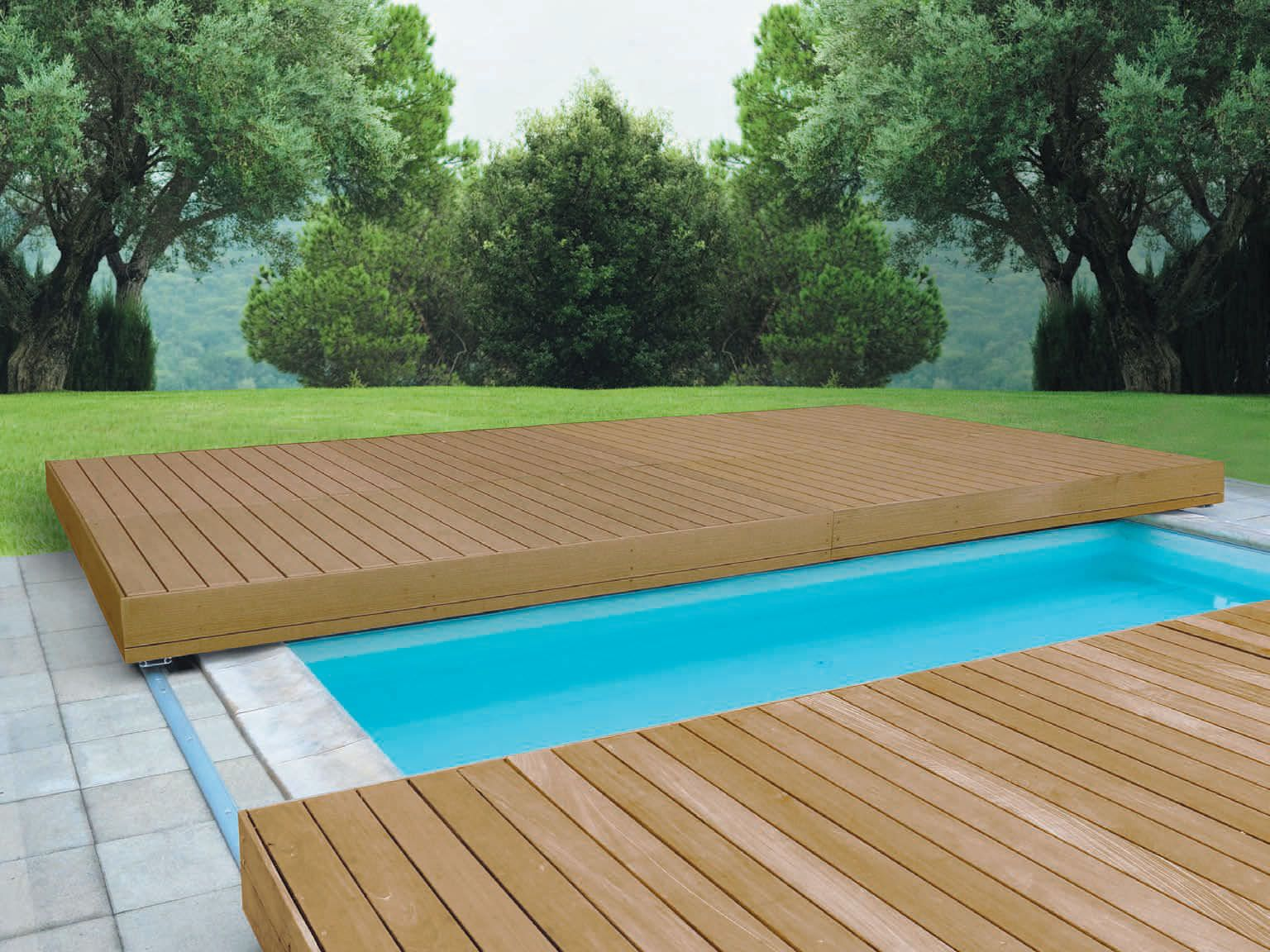 Security sliding deck pool cover walter piscine pool for Wooden pool