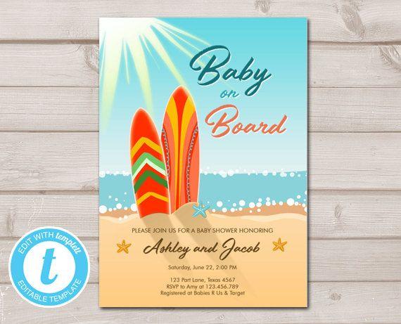 Baby on Board Baby Shower Invitation Surfing Boy Summer Beach