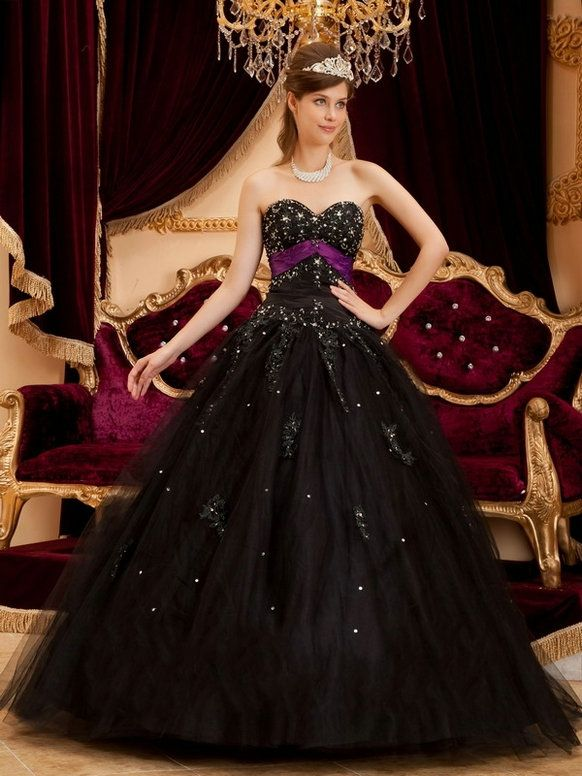Sweetheart Neckline Lace Up Black Quinceanera Dresses.jpg (582×776 ...