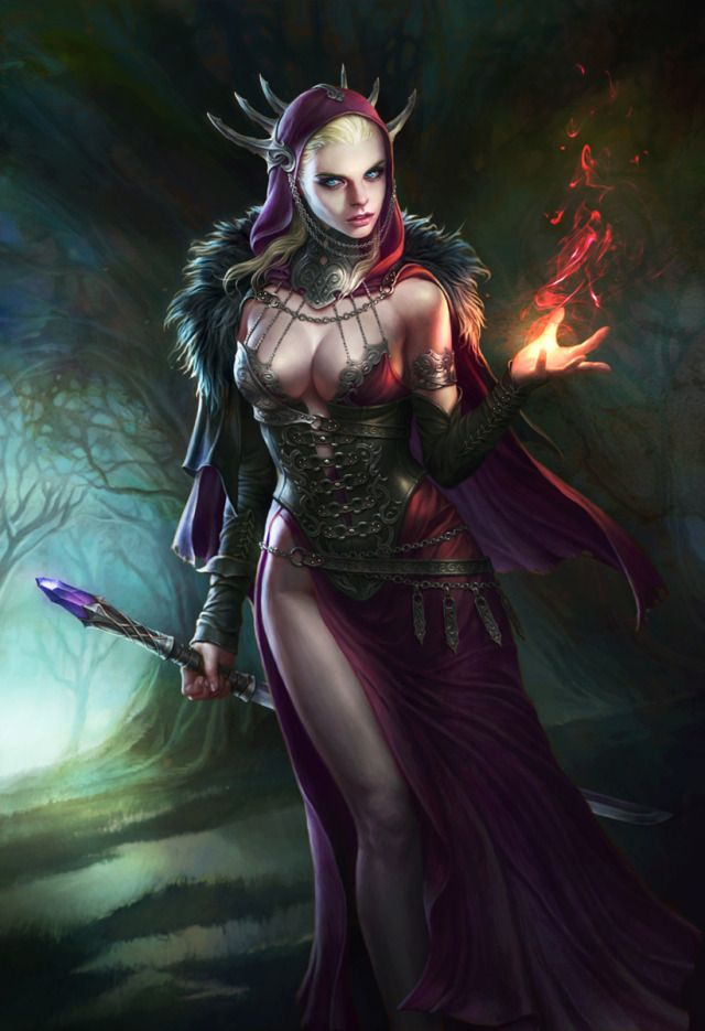 Fire of witch Picture (2d, illustration, fantasy, witch