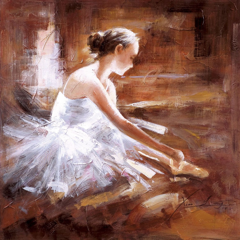 Pharmore Hand Painted Oil Canvas Ballerina Print