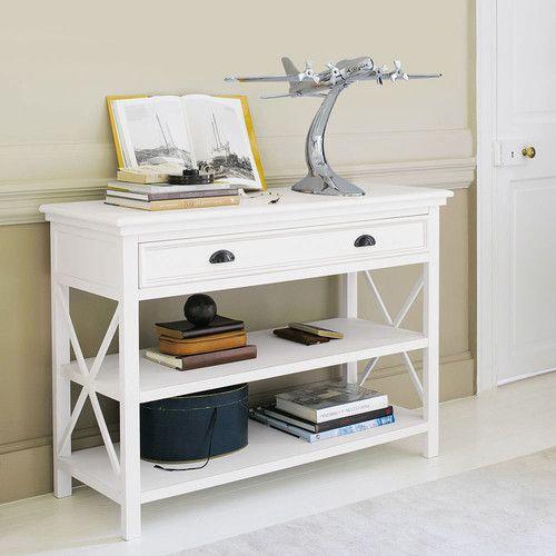 table console en bois blanche l 120 cm projet. Black Bedroom Furniture Sets. Home Design Ideas