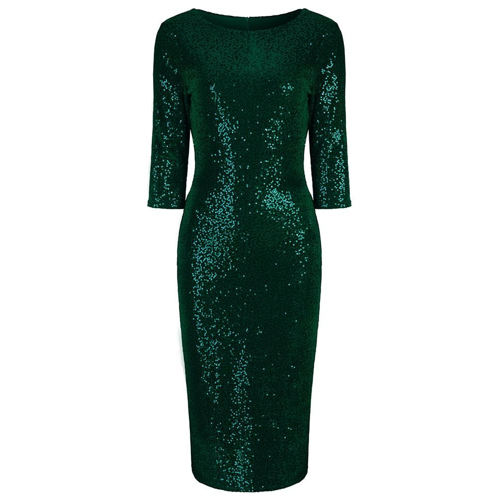 3aa94d87d Stunning Green Sequin Party Dress Also Available In Black & Red Sexy  Hollywood Glamour wiggle Pin-up Pencil style With 3/4 Sleeves Quality  Stretch Velour Fa