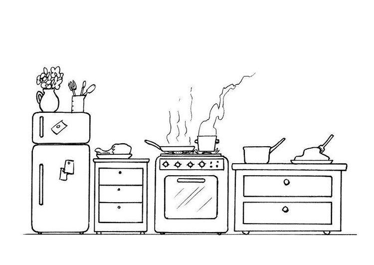 Malvorlage Kuche Kunst Lernen Kritzel Zeichnungen Strichzeichnung