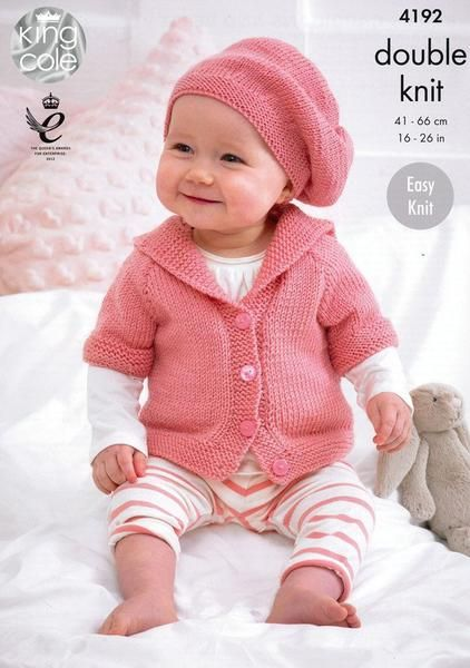 17b3e5948426 Babies Cardigans and Beret in King Cole Cherish and Cherished DK ...