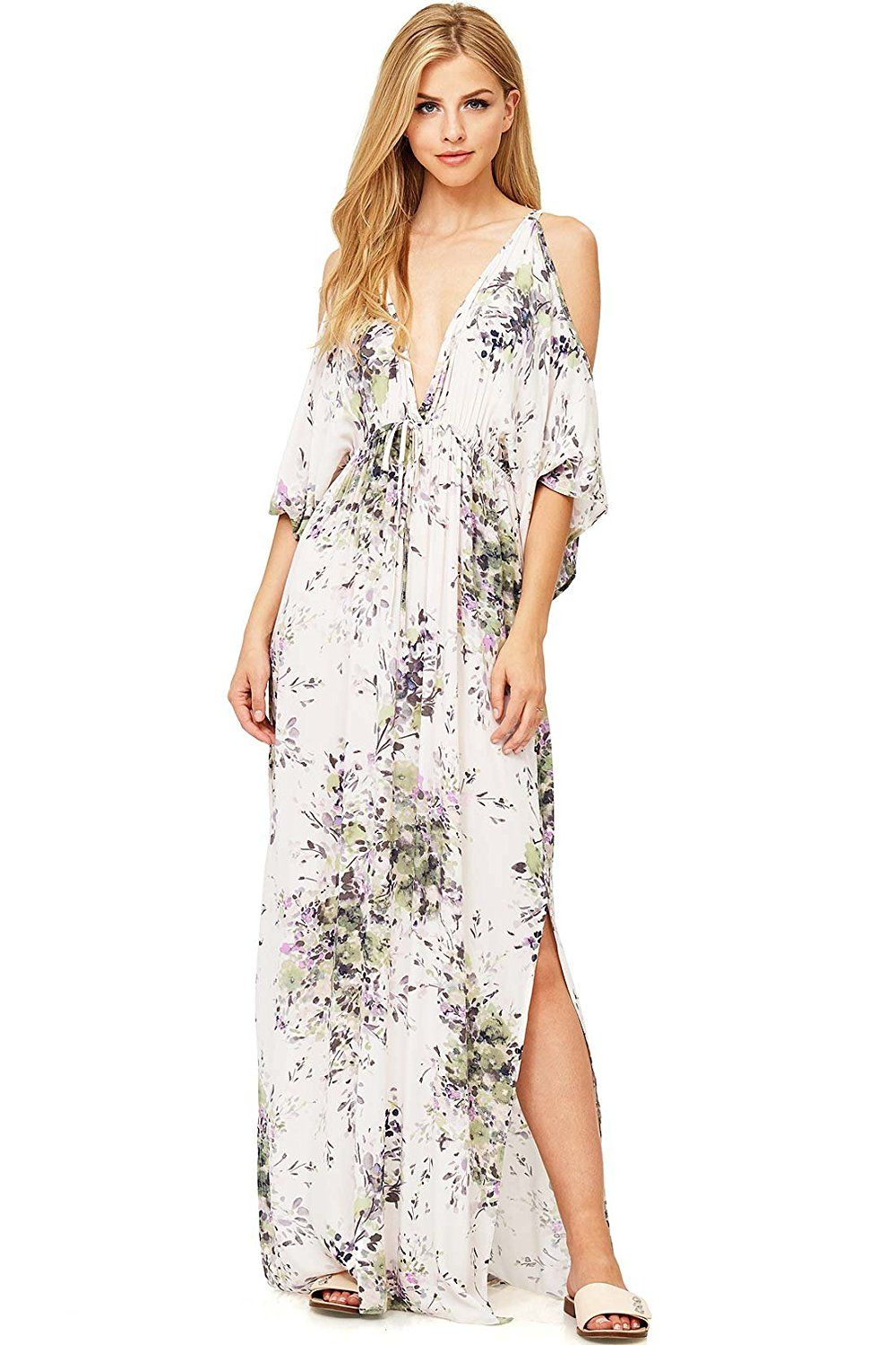 Love stitch womenus long floral v neck maxi dress sm charcoal at