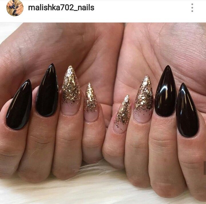Black Gold Stiletto Nails With Images Gold Stiletto Nails