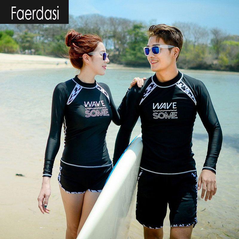 584c567c10dc6 faerdasi Couple Rashguard Surf Swimsuits Women Long Sleeve Rash Guards Men Swimming  Suit Dive Two Piece