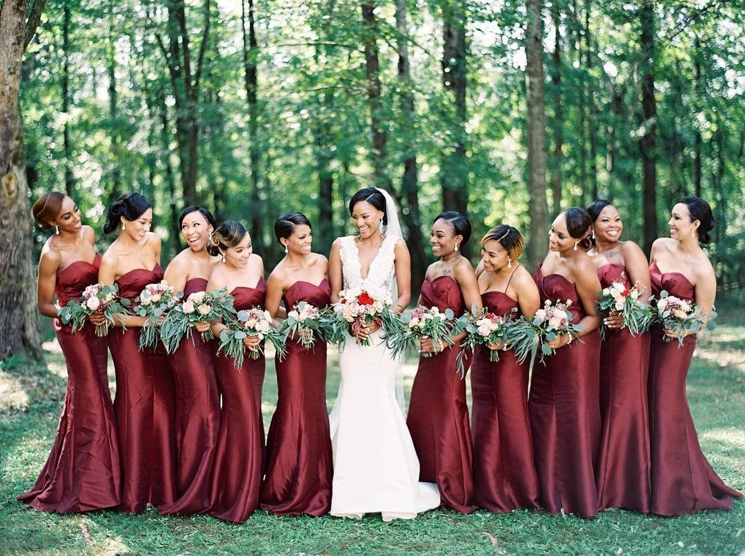 147df5c75c4 David s Bridal bridesmaids in strapless mikado bridesmaid dresses in  burgundy