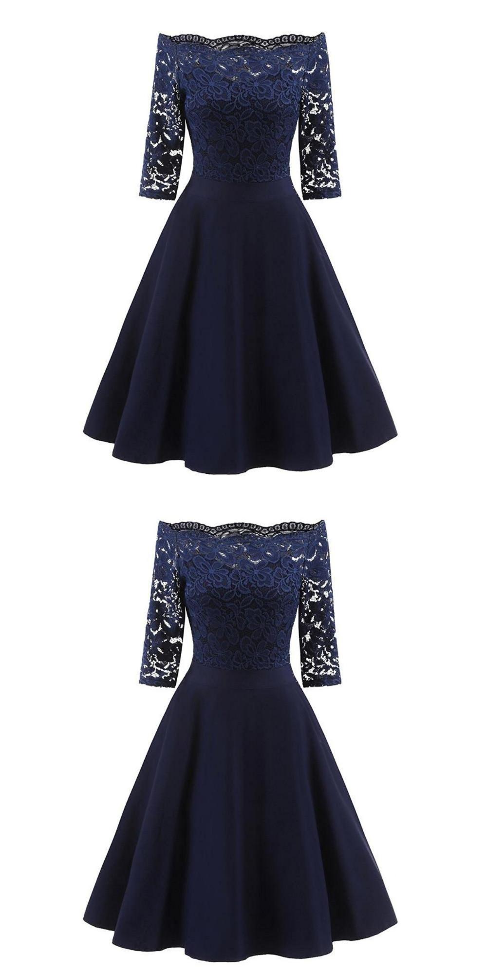 Perfect Navy Blue Homecoming Dress,Off The Shoulder Short Prom Dress,A-Line Graduation Dress,Custom Made Cheap Party Dress