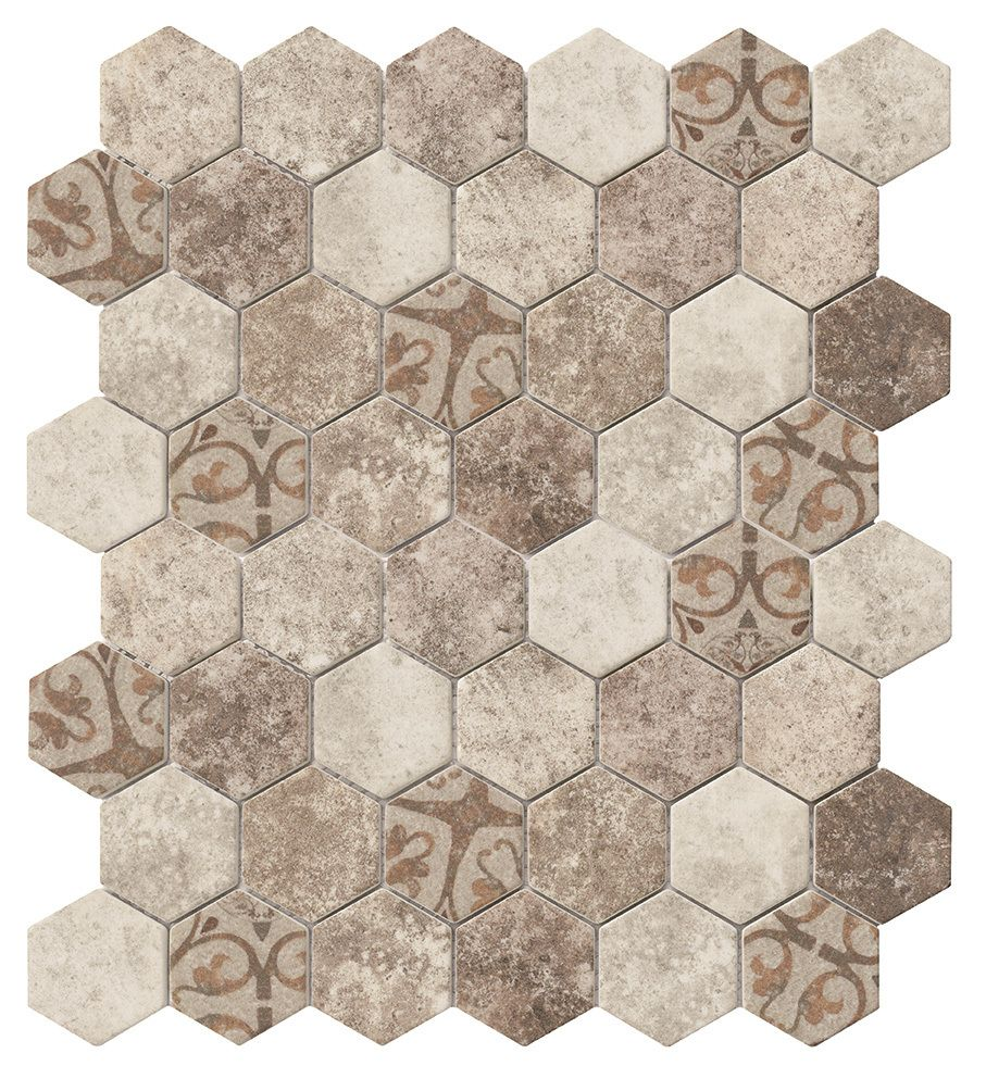 Recycled Hexagon Glass Tile Ancient Beige