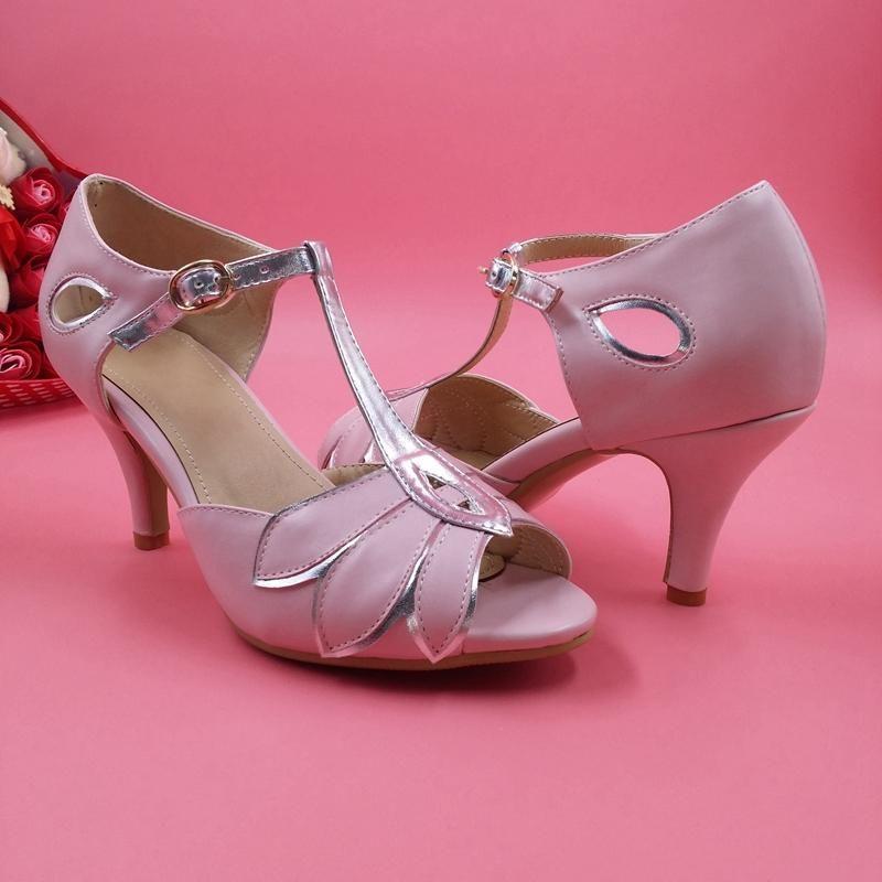 Rosa Hochzeits-Schuhe T-Straps-Leder-Hochzeitsfest-Tanzschuhe Kitten Heels  Damen