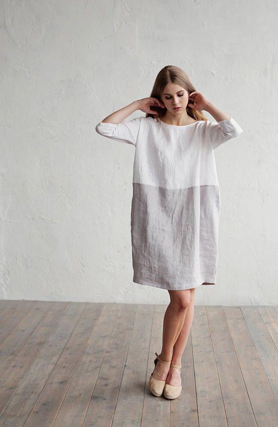 Verbazingwekkend Linnen jurk ADRIA. Kleur blok in witte en grijze jurk voor vrouwen SJ-68